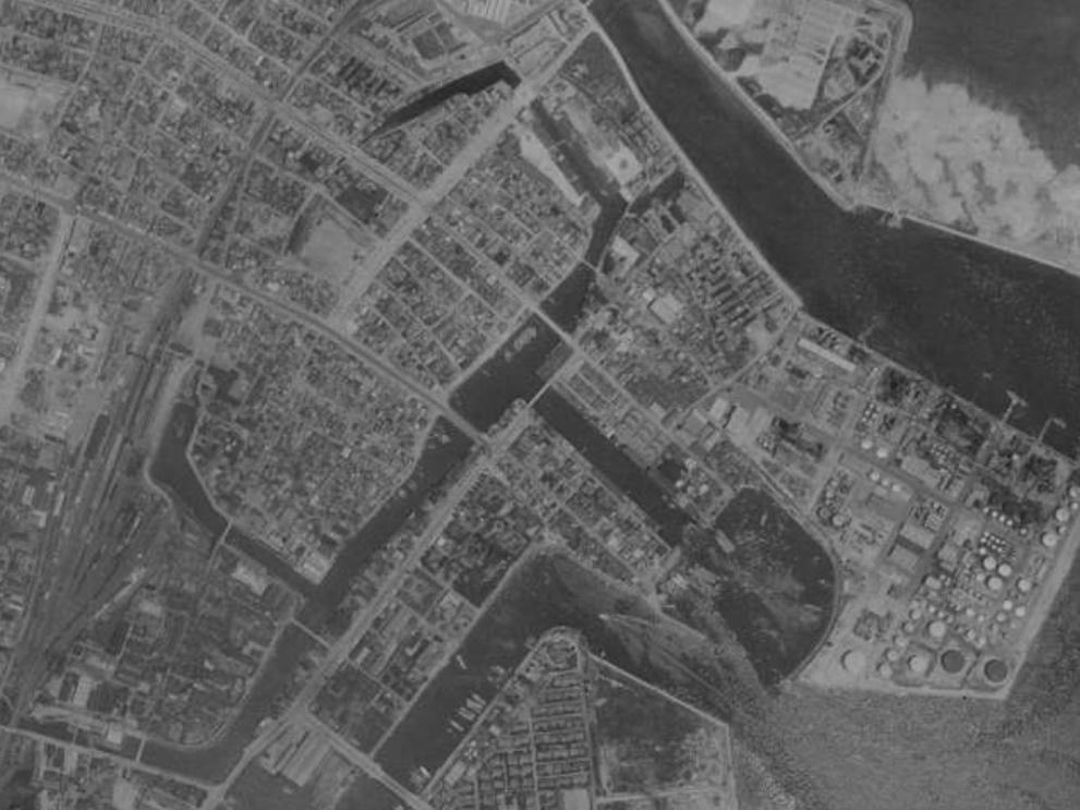 航空写真1960年頃の納屋運河(四日市)