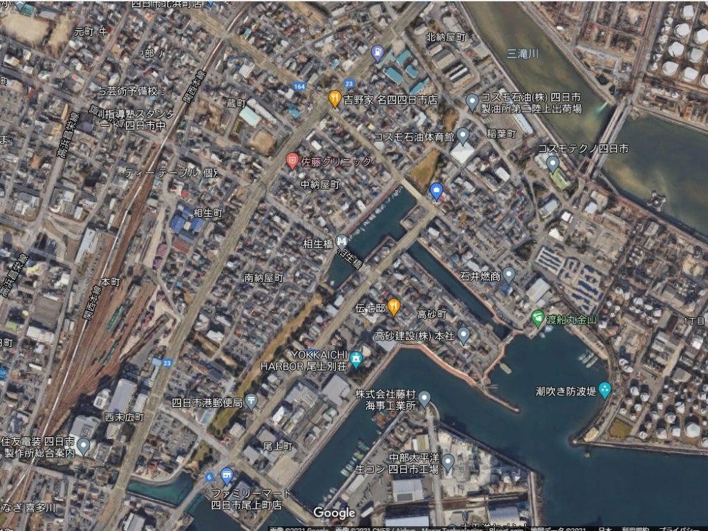 航空写真2021年(現在)の納屋運河(四日市)